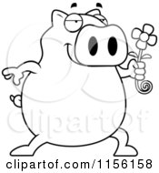 Cartoon Clipart Of A Black And White Pig Holding A Daisy Flower Vector Outlined Coloring Page by Cory Thoman