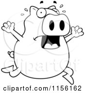Cartoon Clipart Of A Black And White Pig Running Scared Vector Outlined Coloring Page