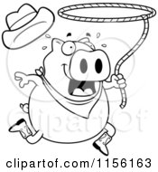 Cartoon Clipart Of A Black And White Rodeo Pig Swinging A Lasso Vector Outlined Coloring Page
