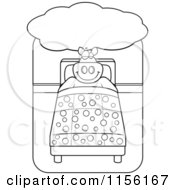 Cartoon Clipart Of A Black And White Big Pig Dreaming And Sleeping In A Bed Vector Outlined Coloring Page