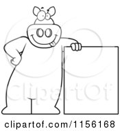 Cartoon Clipart Of A Black And White Pig Leaning On A Sign Vector Outlined Coloring Page