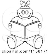Cartoon Clipart Of A Black And White Big Pig Sitting And Reading A Book Vector Outlined Coloring Page