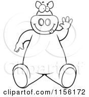 Cartoon Clipart Of A Black And White Friendly Pig Sitting And Waving Vector Outlined Coloring Page