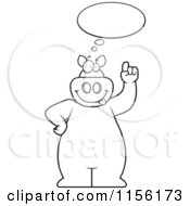 Cartoon Clipart Of A Black And White Big Pig With An Idea Cloud Vector Outlined Coloring Page