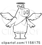 Cartoon Clipart Of A Black And White Standing Angel Pig Vector Outlined Coloring Page