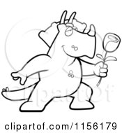 Cartoon Clipart Of A Black And White Romantic Triceratops Presenting A Single Rose Vector Outlined Coloring Page