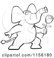 Cartoon Clipart Of A Black And White Romantic Elephant Presenting A Single Rose Vector Outlined Coloring Page
