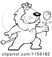 Cartoon Clipart Of A Black And White Romantic Lion Presenting A Red Rose Vector Outlined Coloring Page