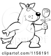 Cartoon Clipart Of A Black And White Romantic Wolf Holding Out A Rose Vector Outlined Coloring Page