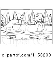 Cartoon Clipart Of A Black And White Bird On An Alligators Nose Vector Outlined Coloring Page by Cory Thoman