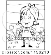 Cartoon Clipart Of A Black And White Little Girl In Front Of Tulips Vector Outlined Coloring Page