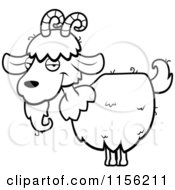 Cartoon Clipart Of A Black And White White Goat With Horns And A Beard Vector Outlined Coloring Page