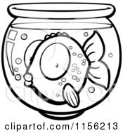 Cartoon Clipart Of A Black And White Surprised Goldfish In A Bowl Vector Outlined Coloring Page by Cory Thoman
