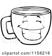 Cartoon Clipart Of A Black And White Happy Grinning Coffee Cup Vector Outlined Coloring Page