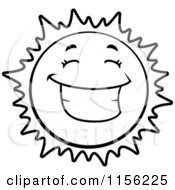 Cartoon Clipart Of A Black And White Happy Grinning Sun Vector Outlined Coloring Page