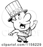 Cartoon Clipart Of A Black And White Uncle Sam Vector Outlined Coloring Page