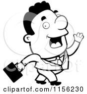 Cartoon Clipart Of A Black And White Walking Black Businessman Vector Outlined Coloring Page
