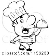 Cartoon Clipart Of A Black And White Man Chef Carrying A Serving Platter Vector Outlined Coloring Page
