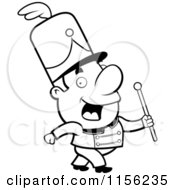 Cartoon Clipart Of A Black And White Conductor Marching With A Wand Vector Outlined Coloring Page