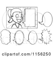 Cartoon Clipart Of A Black And White Talking Woman Vector Outlined Coloring Page