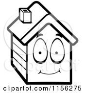 Cartoon Clipart Of A Black And White House Character Vector Outlined Coloring Page