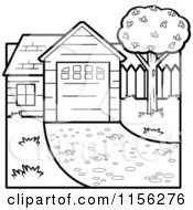 Cartoon Clipart Of A Black And White House Vector Outlined Coloring Page
