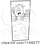 Cartoon Clipart Of A Black And White Humpty Dumpty Sitting Drunk On A Wall Vector Outlined Coloring Page by Cory Thoman