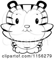 Cartoon Clipart Of A Black And White Cute Tiger Cub Smiling Upwards Vector Outlined Coloring Page