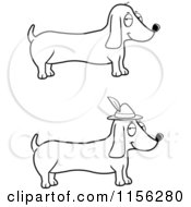 Cartoon Clipart Of A Black And White Digital Collage Of Wiener Dogs Vector Outlined Coloring Page