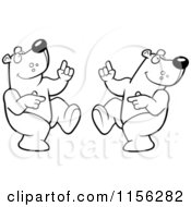 Cartoon Clipart Of A Black And White Digital Collage Of A Dancing Bear In Different Poses Vector Outlined Coloring Page