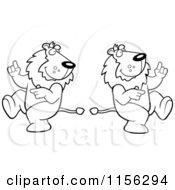 Cartoon Clipart Of A Black And White Dancing Lion Couple Vector Outlined Coloring Page
