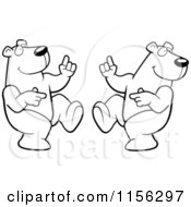 Cartoon Clipart Of Black And White Two Dancing Polar Bears Vector Outlined Coloring Page