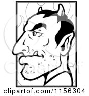 Cartoon Clipart Of A Black And White Devils Profile Vector Outlined Coloring Page