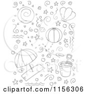 Cartoon Clipart Of A Black And White Collage Of Beach Doodles Vector Outlined Coloring Page