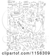 Cartoon Clipart Of A Black And White Collage Of Cinco De Mayo Doodles Vector Outlined Coloring Page