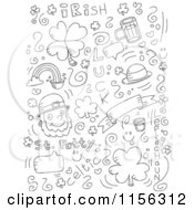 Cartoon Clipart Of A Black And White Holiday Doodle Background Of St Patricks Day Items On White Vector Outlined Coloring Page by Cory Thoman
