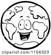 Cartoon Clipart Of A Black And White Happy Earth Vector Outlined Coloring Page