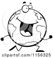 Cartoon Clipart Of A Black And White Happy Globe Character Running Vector Outlined Coloring Page