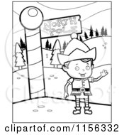 Cartoon Clipart Of A Black And White Christmas Elf Boy Waving By The North Pole Vector Outlined Coloring Page by Cory Thoman