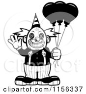 Cartoon Clipart Of A Black And White Scary Clown Waving And Holding Balloons Vector Outlined Coloring Page