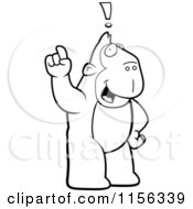 Cartoon Clipart Of A Black And White Big Ape Standing Upright With An Idea Vector Outlined Coloring Page