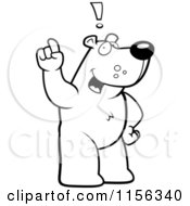 Cartoon Clipart Of A Black And White Creative Bear Character Standing And Thinking Up An Idea Vector Outlined Coloring Page