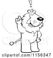Cartoon Clipart Of A Black And White Lion Exclaiming Vector Outlined Coloring Page