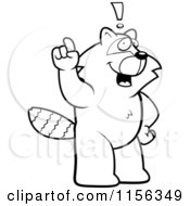 Cartoon Clipart Of A Black And White Big Raccoon Standing On His Hind Legs Holding His Finger Up With An Idea Vector Outlined Coloring Page