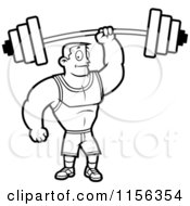 Cartoon Clipart Of A Black And White Fitness Man Holding Up A Barbell With One Hand Vector Outlined Coloring Page