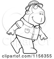 Cartoon Clipart Of A Black And White Ape Explorer Walking On His Hind Legs Vector Outlined Coloring Page