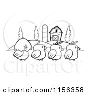 Cartoon Clipart Of A Black And White Row Of Four Farm Chicks Vector Outlined Coloring Page