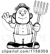 Cartoon Clipart Of A Black And White Farmer Waving Vector Outlined Coloring Page