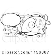 Cartoon Clipart Of A Black And White Happy Fish With Talk Bubbles Vector Outlined Coloring Page