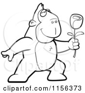 Cartoon Clipart Of A Black And White Romantic Ape Presenting A Single Rose Vector Outlined Coloring Page